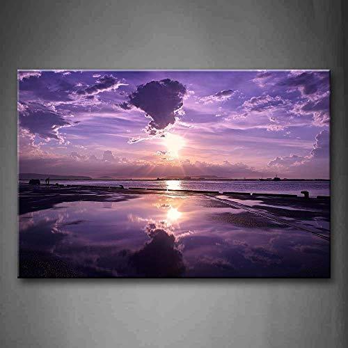 NIMCG 1 PIC Wall Art Pictures Purple Reflection Stampa su Tela Poster Seascape Poster con Decorazioni in Legno per l'home Office (Senza Cornice) R1 40x50 cm