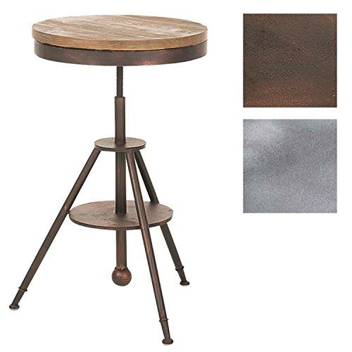 CLP Table de Bar MOKO Style Industriel I Tabouret de Bar Réglable en Hauteur avec Repose Pieds I Chaise Haute de Bar Assise en Bois Hauteur Assise 70-90 cm I couleur: bronze