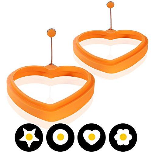Amazy Molde Silicona de Huevos Fritos (Set 2 unids) / Una idea práctica y divertida para cocinar crepes o huevos con la forma perfecta (corazon)