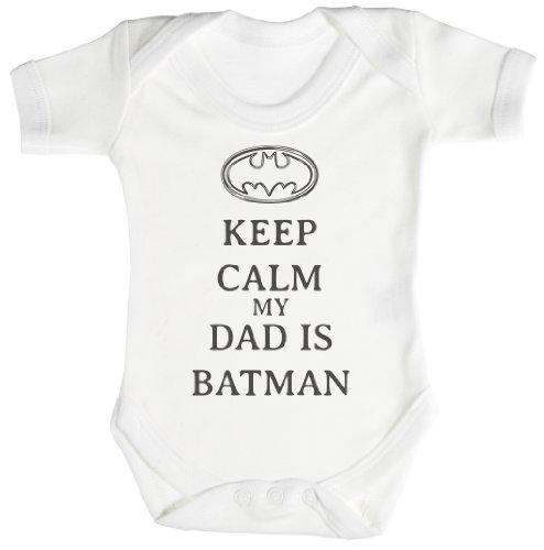 TRS - Calm My Dad Is Batman Camisillas Bebé / Ropa interior 3-6 meses, blanco