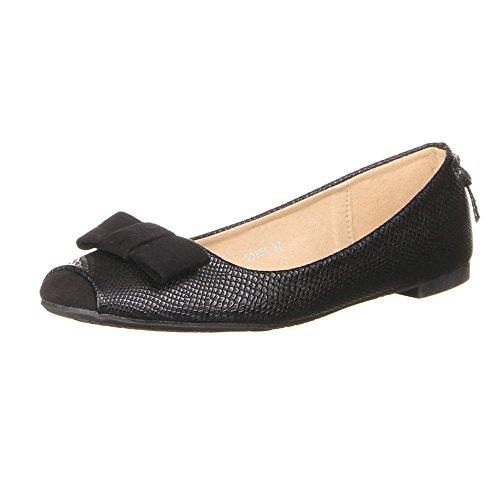 Damen Schuhe BALLERINAS MODERNE SCHLEIFEN DEKO SLIPPER Farben: Creme Schwarz Orange Größen: 36 37 38 39 40 41 Schwarz