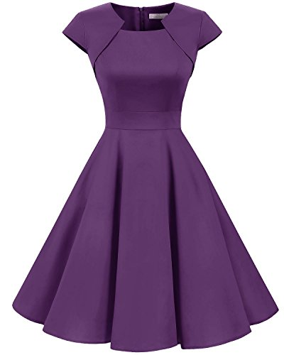 intage Retro Kleid Party Kurzarm Rockabilly Cocktail Abendkleider Purple L ()