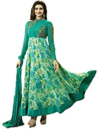 Uma Enterprise Women's Georgette Heavy Embroidary And Printed Work Anarkali Salwar Suit(Free Size_Firozi)