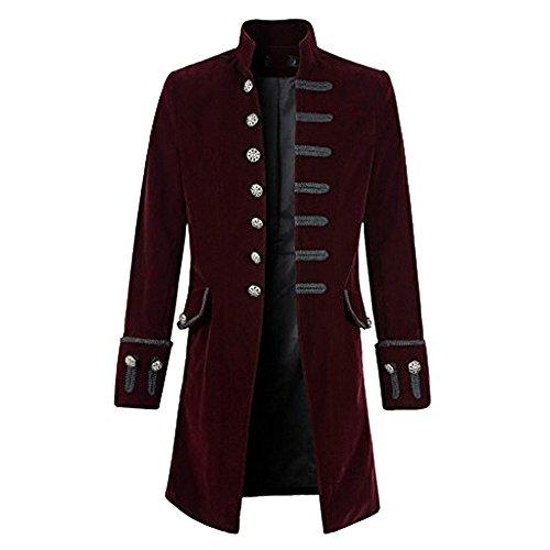 Bliefescher Herren Steampunk Gothic Jacke Langer Kragen Rundhalsausschnitt Mantel Smoking Uniform