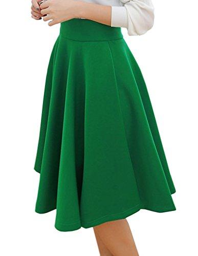 Eyekepper Jupe femmes demoiselle l'automne et hiver haute taille en forme de parapluie Vert