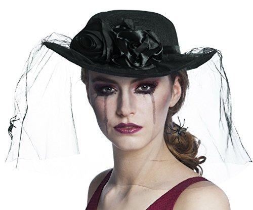 Kostüm Spinne Schleier Hut Gothic Rose, Schwarz (Spinne Kostüm Frauen)