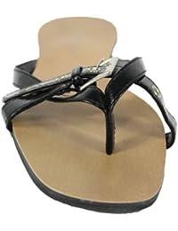 Trendige Zehensandale Sandalette mit Riemschen Trend Design Sandale schwarz