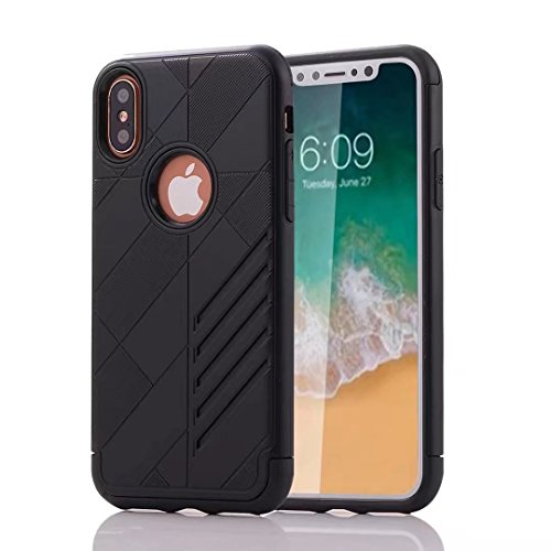 iPhone X Armor Cover, Super Cool Hybrid Tangram Diagonal Holdes Style Slim Armour Custodia, TAITOU Fashion Ultralight Thin Phone Cover For Apple iPhone X Golden BBlack