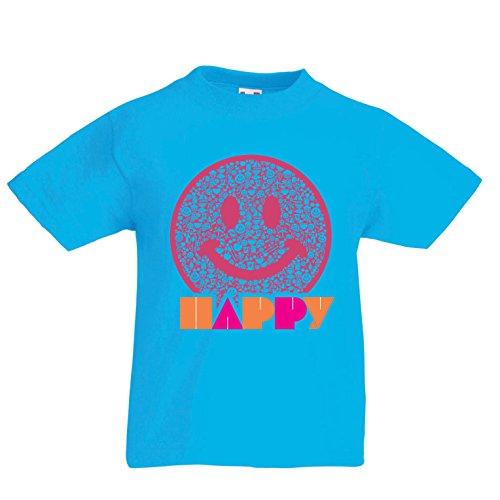 en T-Shirt Emoji Wear - Inspirational Happy Emoticon Cute Smileys Face (9-11 Years Hellblau Mehrfarben) ()