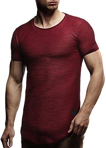 LEIF NELSON Herren Sommer T-Shirt Rundhals-Ausschnitt Slim Fit Baumwolle-Anteil | Moderner Männer T-Shirt Crew Neck Hoodie-Sweatshirt Kurzarm lang | LN6324 Bordeaux M