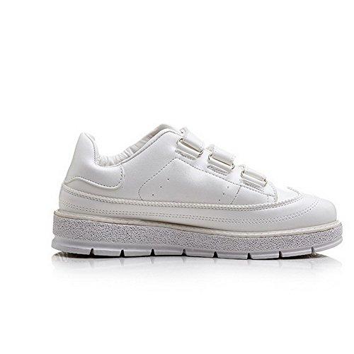 AllhqFashion Femme à Talon Bas Matière Souple Couleur Unie Velcro Rond Chaussures Légeres Blanc
