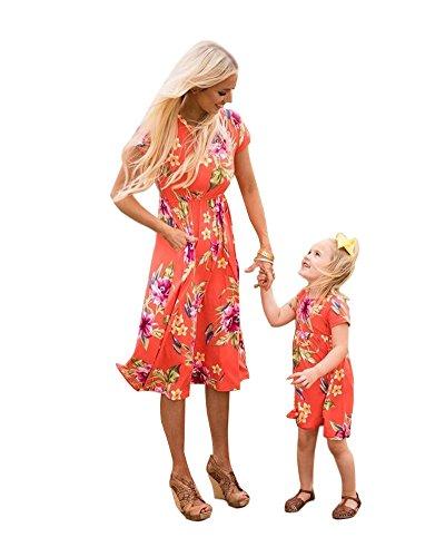 (Minetom Mütter und Tochter Familie Sommerkleid Streifen Maniche Tromba Kleider Spitze MiniKleid A Linie Strandkleid Partykleid B Rot 130 (Tochter))