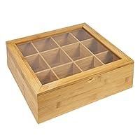 Woodluv Boîte à 12 compartiments pour ranger et stocker les sachets de thé Bambou naturel