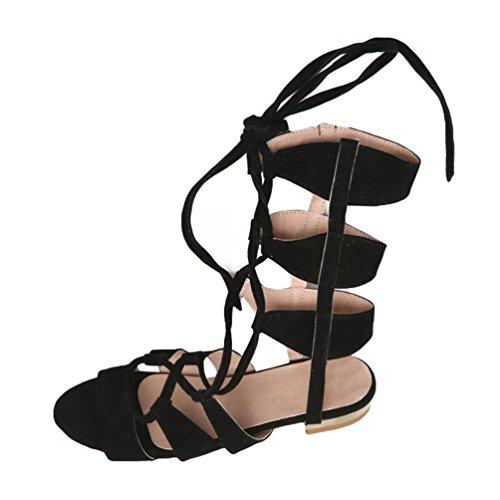 YOUJIA Sandale Eté Plat Gladiateur Bottes Romain Mi-mollet Lacets Sandales Pour Femmes Noir