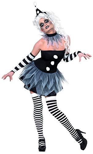 erdbeerclown - Damen Frauen Kostüm verrückter Pierrot Harlekin Narr Kleid Armstulpen Hut und Halskrause, Crazy Jester Harlequin, perfekt für Halloween Karneval und Fasching, L, - Jester Kostüm Frauen