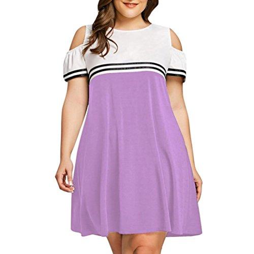 QUINTRA Große Größen-Frauen Weg von der Schulter-Kurzschluss-Hülsen-Minikleid-Abend-Partei-Kleid (T-shirt Farbe Band Youth)
