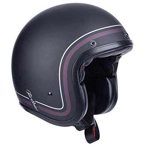 By City - Casco de FIBRA Retro Custom Cafe Racer TWO STROKES Negro Mate (M)