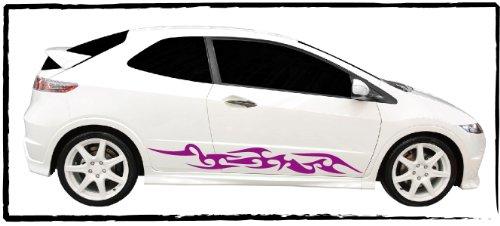 DD Dotzler Design 0905 Auto Aufkleber Tuning Tribal Tattoo Seitenschweller links rechts Set 2 Stück 110 cm Breite Motorhaube Heckscheibe Autoaufkleber (Seitenschweller Design)