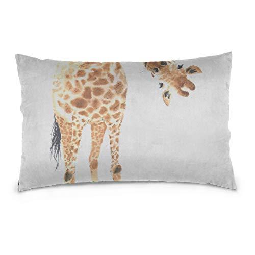 """JEOLVP Gold Kissenbezüge lang hoch hübsche Giraffe Baumwolle Reversible Zipper Standardgröße (20""""x 30"""") Outdoor-Kissenbezug King Size Kissenbezug Fall Kissen"""