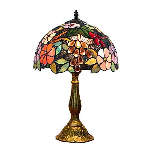 XHJZ-H Tiffany Stil Tischlampe, kreative Retro Glasmalerei Trauben Vintage Lampe, für Schlafzimmer Wohnzimmer Tischlampen 12 Zoll