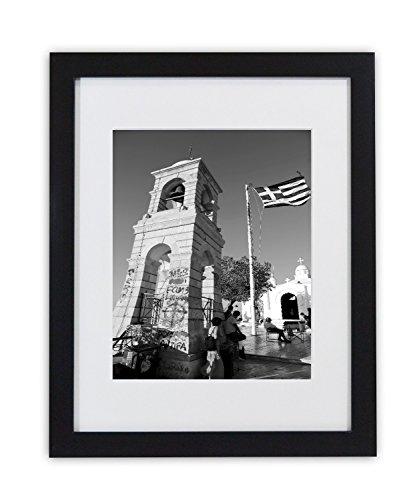 Golden State Art Schwarz Farbe, 11x 14Foto Holz Rahmen mit Echtem Glas und Weiße Matte für 8x 10Bild