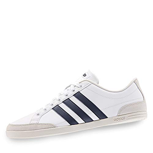 adidas EE7599 Caflaire Herren Sneaker aus Glatt-Veloursleder Textilausstattung, Groesse 44 2/3, weiß - Weiße Glatt-leder-schuh