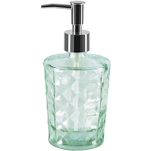 Spirella colección Carla, Dispensador de jabón líquido Ø8,5x18,5 cm (0,4 litros), Vidrio Reciclado, Verde