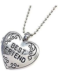 Mejores amigos amistad camafeo colgante de corazón colgante Charm plata regalo de Navidad