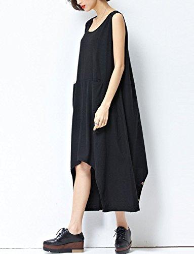 ELLAZHU Femme Sans Manche Poches Adjustable Hem Combinaisons Robe GA195 A Noir
