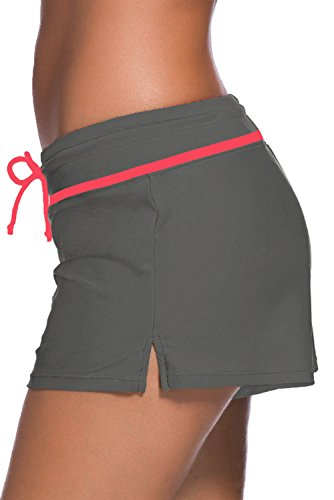 Aleumdr Damen Wassersport UV-Schutz Schwimmen Badehose Bikinihose Badeshorts Schwimmshortse Grau und Rot Medium