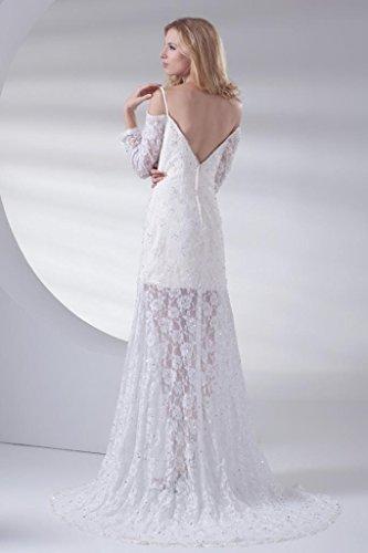 GEORGE BRIDE Volle Spitze traegerlosen Abendkleid vor dem Split / Hochzeitskleid Brautkleider Hochzeitskleider Weiß