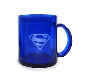 SD Toys SDTWRN89212 - Taza de cristal con logo Superman, color azul transparente (SDTWRN89212) - Taza Superman Transparente azul