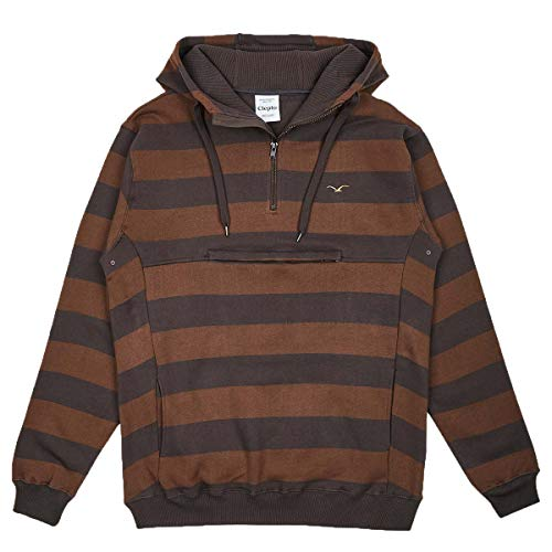 Cleptomanicx Stripe 3.0 Hooded Pullover Dark Chocolate XL