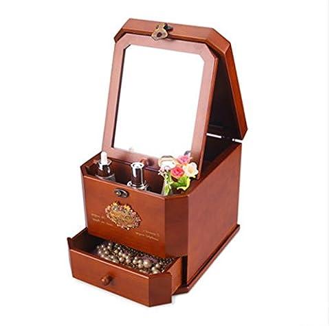 MEYLEE Serrure de métal rétro fait main pur solide bois cosmétiques cas avec un miroir Bureau commode cosmétiques boîte de stockage boîte à bijoux