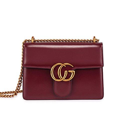 Ledertasche Retro Einfache Schultertasche Diagonale Paket Kette Paket Umschlag Tasche Handtaschen B