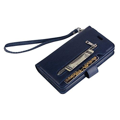 Badalink Hülle für iPhone X Zipper Blau Handyhülle Leder PU Case Cover Magnet Flip Case Schutzhülle Kartensteckplätzen Handytasche mit Eingabestifte und Staubschutz Stecker Blau