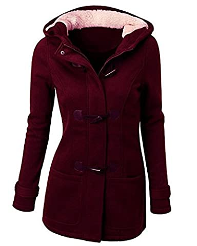 Winterjacke Damen Mantel Jacke Trenchcoat Outwear Mit Kapuze Vin Rouge M