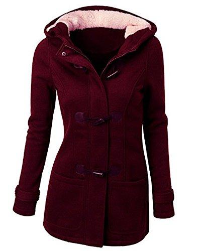 Donna-Giacca-Cappotto-con-Cappuccio-Giacche-Abbottonato-Parka-Outwear-Vino-Rosso-M