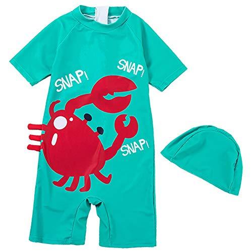 YAGATA Baby Junge Einteilig Swimsuit, Kurz Arm Badeanzug mit Badekappe, Bademode mit Krabbe Motiv für Strand Baden Kleinkind/Kinder 1-8 Jahre, L