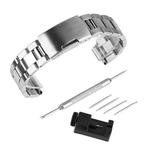 BEWISH 24mm Uhrarmband Edelstahl Ersatzband Solide Metall Uhr Band Riemen Uhrenarmbänder Smart Watch Strap Band Ersatz Edelstahlschliesse Uhr Armband Unisex mit Uhrmacherwerkzeug...