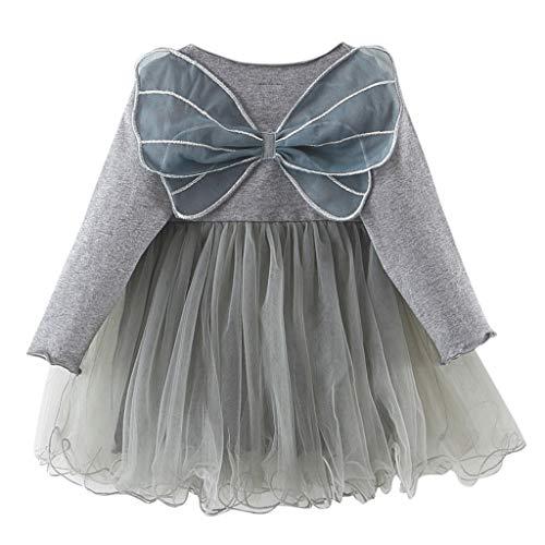 YWLINK Kleinkind MäDchen FlüGel des Schmetterlings 3D Prinzessin TüLl Kleider Süß Lange ÄRmel Mesh Patchwork Elf Kleiden Party Hochzeit Rock Anziehen(Grau,6-12 ()