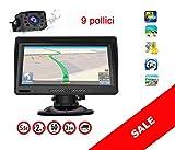 Navigatore 9 Pollici GPS Per Auto Camion Europa 2020, Telecamera Retromarcia, Aggiornamento A Vita