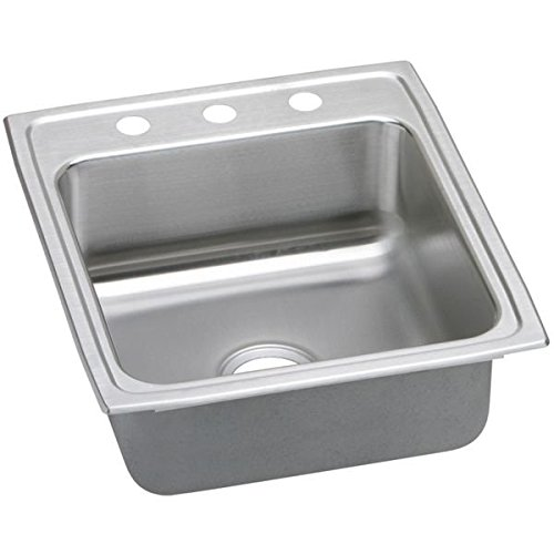 elkao| # ELKAY lradq202260318Gauge acciaio inossidabile 49,5x 55,9x 15,2cm ciotola singolo rubinetto lavello da cucina top Mount, 3fori, dai ELKAY