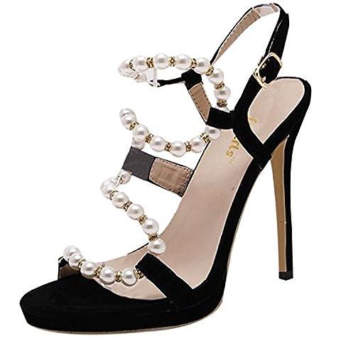 Oasap Women's Open Toe High Heels Pearls Slingback Sandals, Black EURO40/US9/UK7