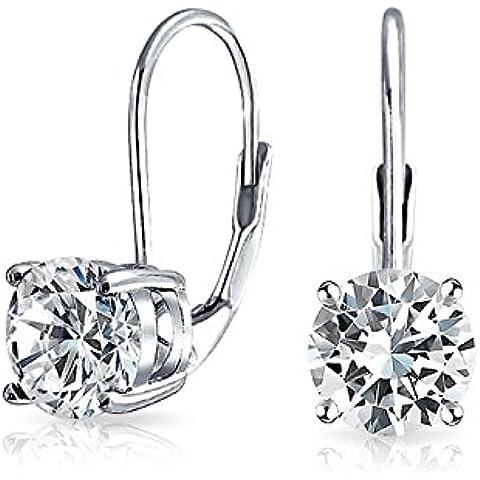 Bling Jewelry CZ Solitaire Leverback orecchino dell'argento