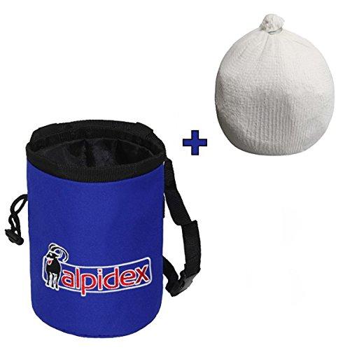 ALPIDEX Pacchetto risparmio: Sacchetto porta magnesite colore Blue Night + Chalk Ball da 35 g