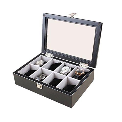 SH-snh SH-snh Wooden Watch Box, Display-Ständer/Box Set/Aufbewahrungsbox für Schmuck Uhren, 8 Grids Watch Display Box mit Glasdeckel