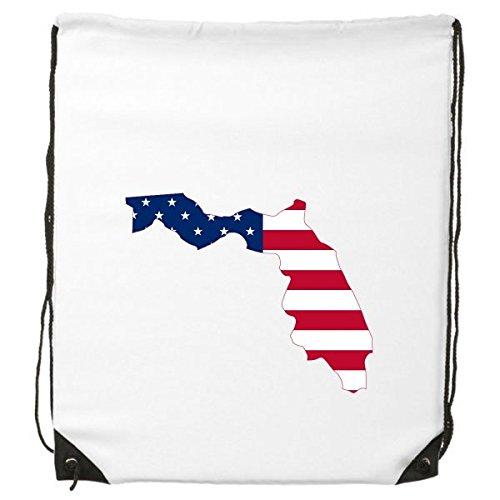 Die Vereinigten Staaten von Amerika USA Florida Map Stars and Stripes Flagge Form Kordelzug Rucksack feine Linien Shopping Handtasche Kreatives Geschenk Schulter Umweltfreundliche Tasche aus Polyester (And Stripes-flagge Stars)