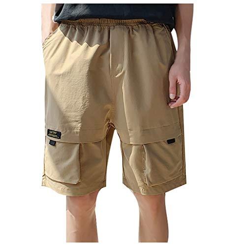 Deloito Sommer Strandhose Herren Mode Persönlichkeit Cargo Kurze Hosen einfarbig Lose Arbeitsshorts Komfort Sport Shorts (Khak,XXX-Large) -