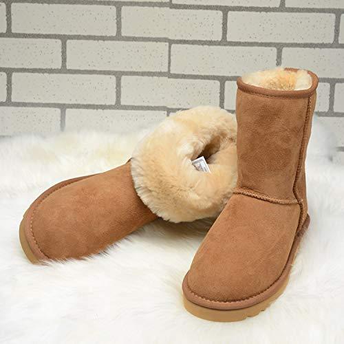Winter Schneestiefel Studentinnen Dicke warme Kurze Stiefel Kurze Röhre Baumwollschuhe, 38, Maroon A ()